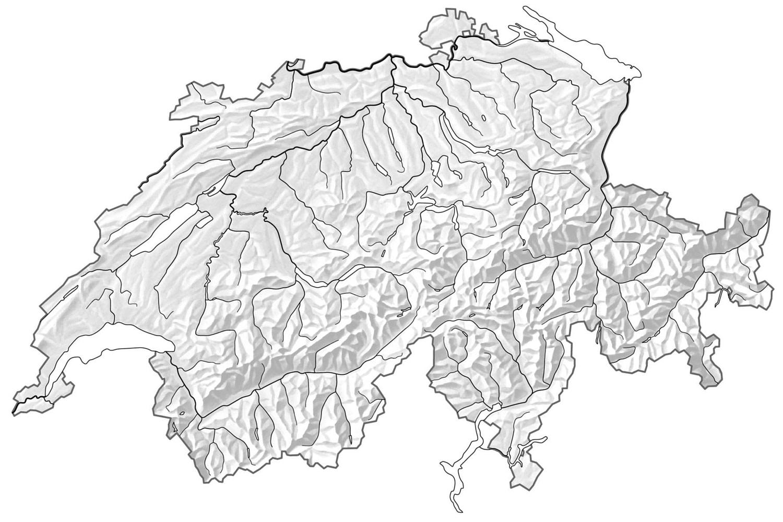 Karte der Schweiz mit guten Fluggebieten zum Gleitschirmfliegen lernen in der Zentral- und Ostschweiz